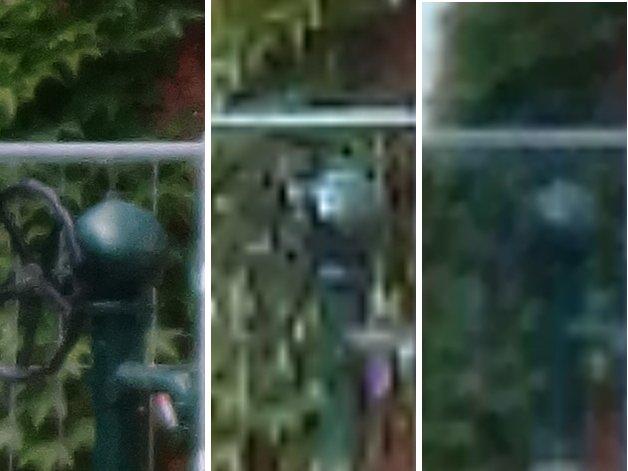 Estas imágenes con zoom al 100 % muestran claramente la diferencia en el resultado de un zoom óptico (izquierda) y un zoom digital (centro y derecha): Si bien se pueden apreciar todos los detalles en el Sony Cyber-shot QX10 (izquierda), el Xperia Z1 (centro) y el G2 LG (derecha) sólo ofrecen una acumulación de píxeles. / © ANDROIDPIT